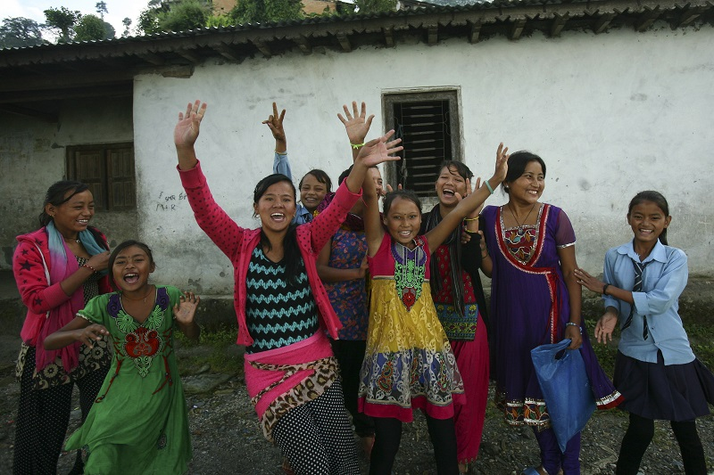 Members of Girl Support Committee playing together after the workshop in Jaldevi Secondary School at Hagam VDC in Sindhupalchok. Photo: Uma Bista/Stars Foundation